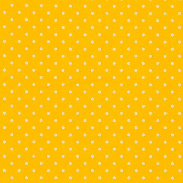 Látka bavlna plátno na patchwork bílé puntíky na žluté
