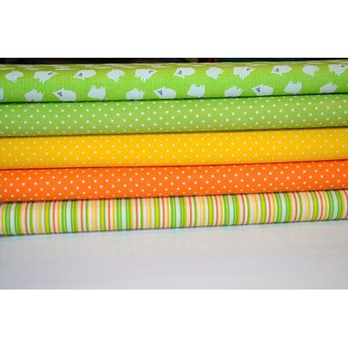Látky na patchwork metráž žluté zelené bílé proužky puntíky tečky