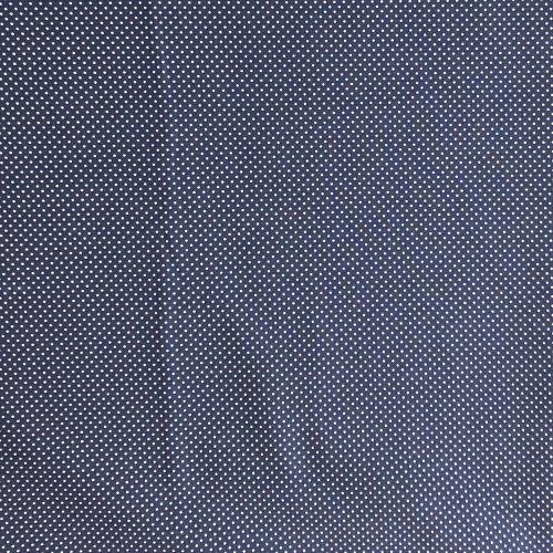 bavlněné látka na šití v tmavě modré džínové denim barvě bílé tečky puntíky malé
