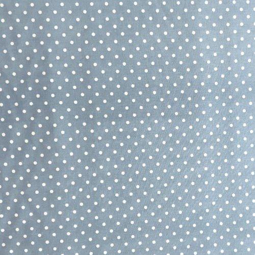 světle modrá látka s bílými puntíky tečkami kroužky bavlna na tvoření šití