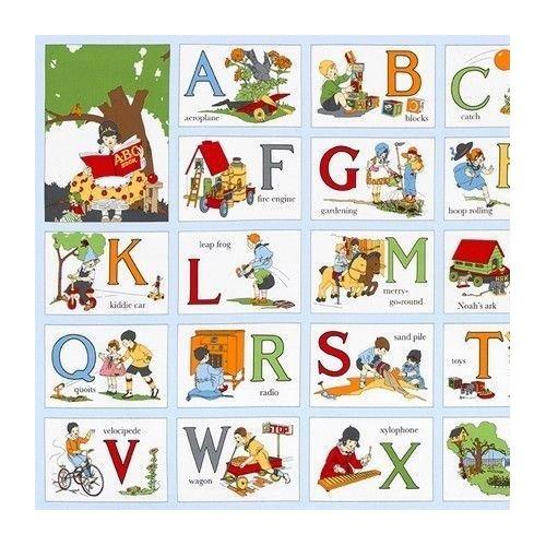 Panel bavlněné látky z Ameriky na patchwork abeceda s obrázky bílá světle modrá