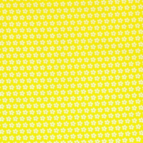 Bavlněné plátno české bílé květinky na žlutém podkladu