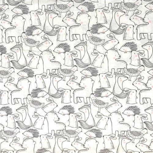 bavlněná látka s dětských vzorem lesních kreslených zvířátek na bílém podkladu s černým obrysem na vybarvení