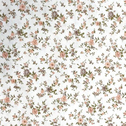 květinová látka s růžovými kytičkami a lístky bílá na světlé závěsy metráž dekorace polštáře povleky