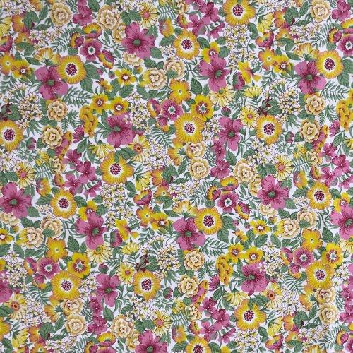 látka s květinkami žluté růžové fuchsiové lístky metráž na kreativcní tvoření a dekorace
