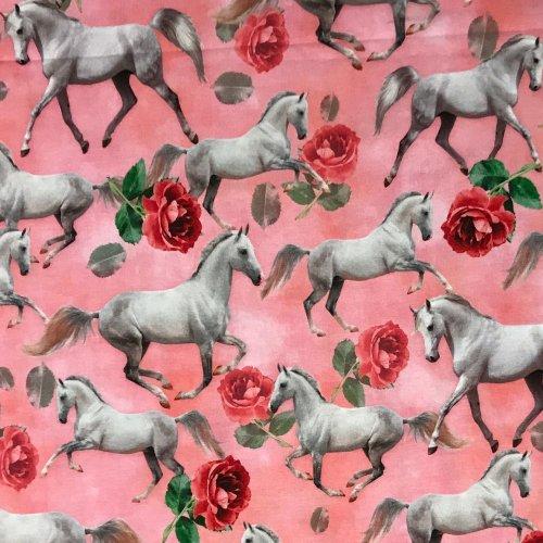 úpletová látka žerzej elastická koni s růžemi na růžové dětská holčičí