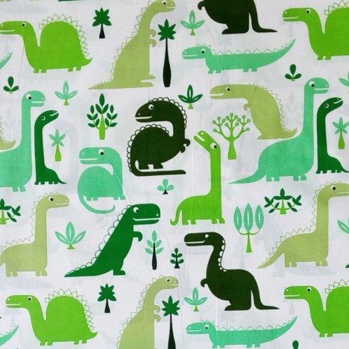Dětská bavlna metráž zelení dinosauři na bílé ba povlečení závěsy