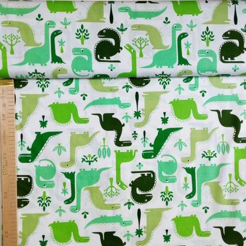 Látka 100 bavlna plátno dinosauři zelení brntosaurus t rex bílá na bytové dekorace dětské povlečení