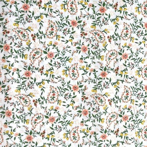 dovozová látka Francie STOF fabrics Sophia květiny folklor krajkové barevné na bílé