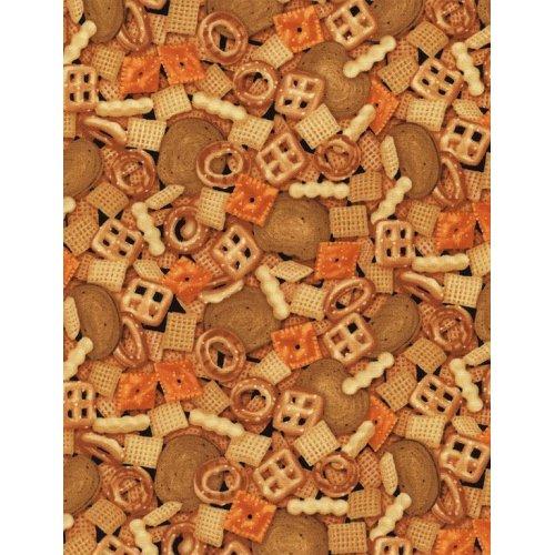 Americká bavlněná látka se vzorem keksů sušenek mix gm hnědé
