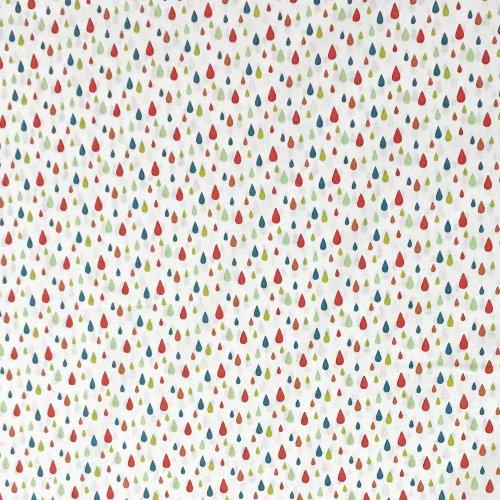 dovozová bavlněná látka metráž stof fabric france barevné červené zelené kapičky kapky bílá na závěsy