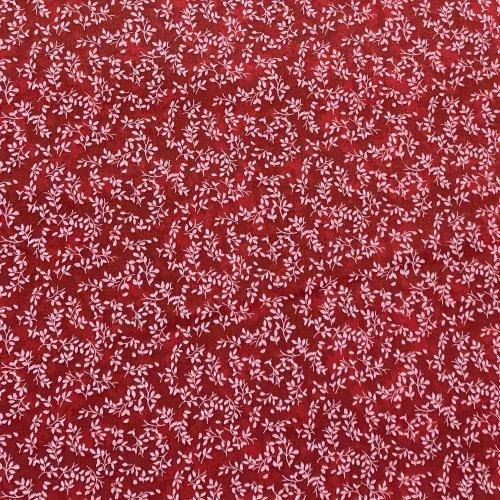 tmavě červená látka batika rudá 100 bavlna metráž na závěsy dekorační polštáře bílé lístečky krajka