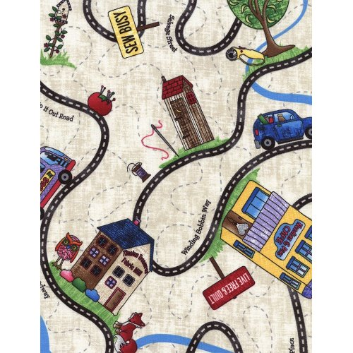 Americká bavlněná látka domy cesty silnice dětské na krémové
