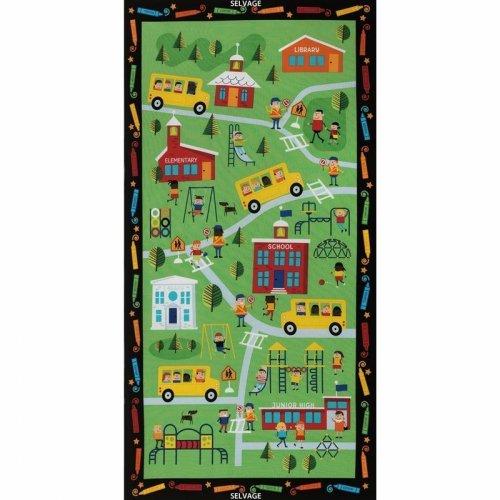 Americká bavlněná látka panel dětský škola na zelené děti knihovna autobus