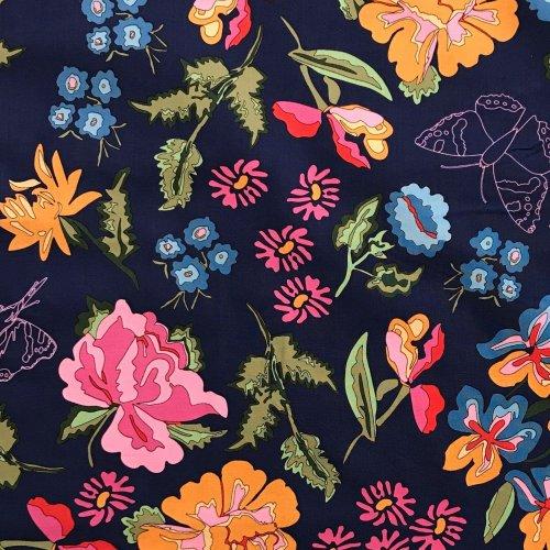 Dovozová látka bavlněná mez fabrics barevné květiny na tmavě modré námořní c131933 03001 nordic garden dream blue