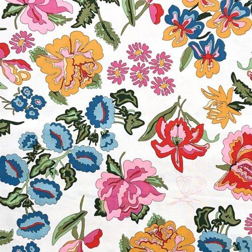 dovozová látka úplet MEZ Fabrics elastický nordic garden dream c131933 03003 stauder white květiny barevné