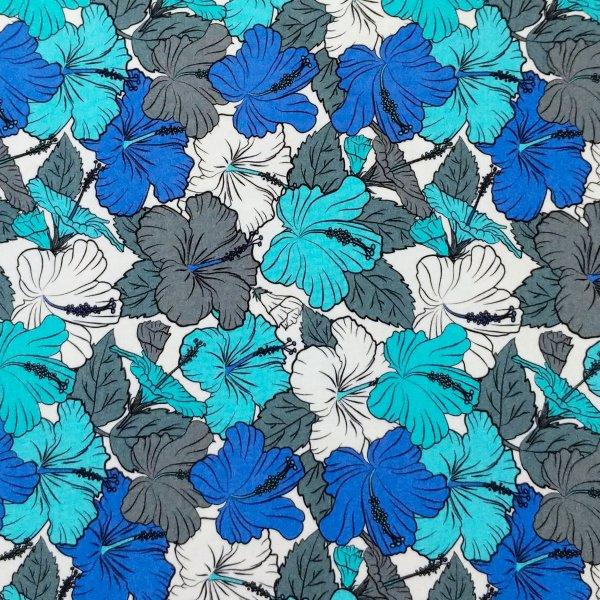 látka metráž viskózový úplet na dámské letní šaty viskóza s elastanem motýli modrá bledě šedí bílý