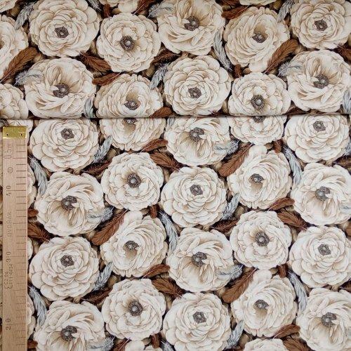 Látka od Fabric Freedom Amerika hnědá květy světlé na bytové dekorace
