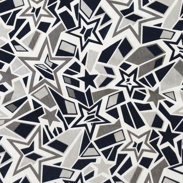 šatová látka černo bílá obrazce čmáranice geometrické tvary na letní sukně