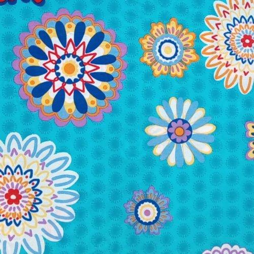 Dekorační látka tyrkysově modrá s mandalami na dekorace a závěsy