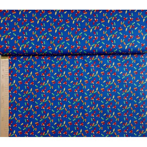 100 bavlna metráž na patchwork polštáře modrá tmavé pastelky tužky barevné malování