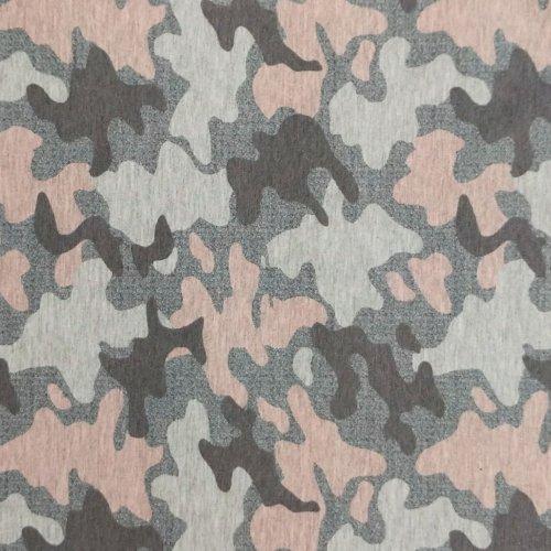 teplákovina metráž jersey kaňky camouflage kamufláž maskáč světle růžová šedá