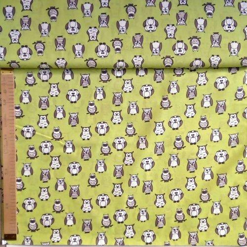 Látka 100 bavlna na patchwork polštáře šedé sovy na zelené světle olivové