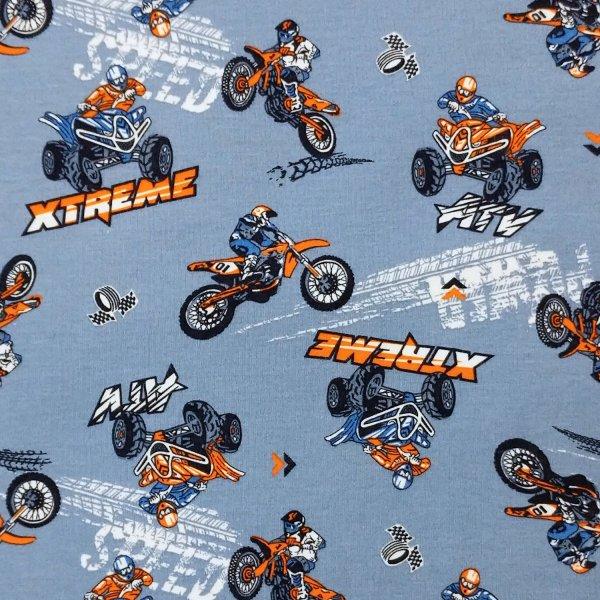 látka úplet elastický s bavlnou na čepky legíny tepláčky trička s motorkami dětský pro kluky