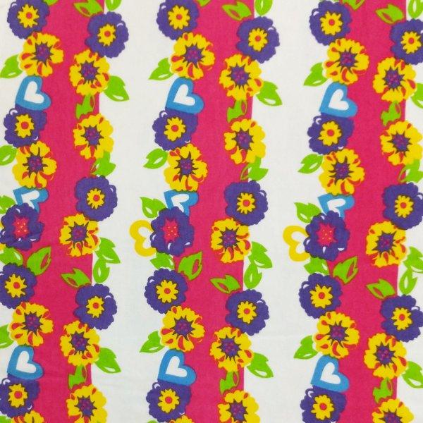 látka úplet tričkovina na šaty sukně metráž fuchsiová růžová bílá květiny kytičky na šatičky