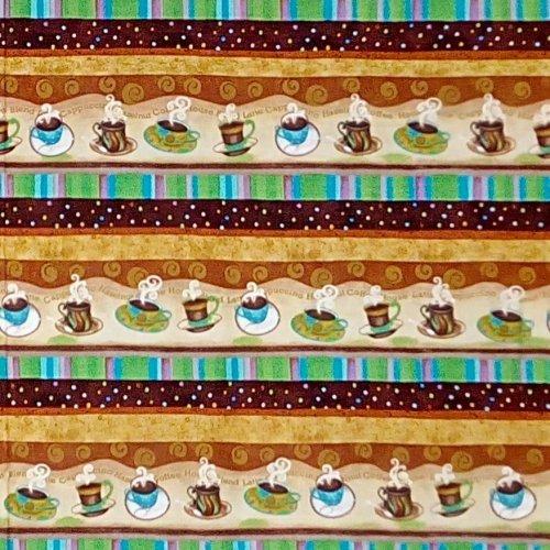 Americká bavlna metráž hnědá tyrkysová kávy béžová espresso latte macchiato capuccino na kabelky