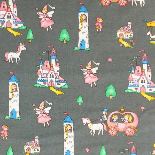 dětská látka úplet metráž princezna princeznička hrad věž šedá holčičí trička legíny