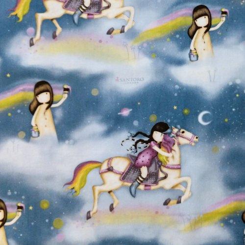 Americká bavlněná látka panenka santoro gorjuss koně holčička noční obloha mraky na šití QT 1649-24200-B rainbow dreams