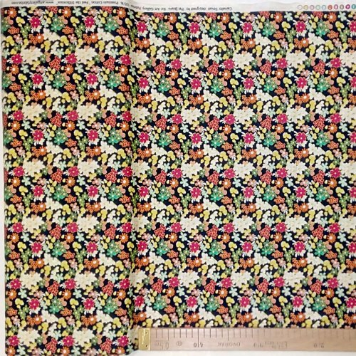 Látka 100 bavlna plátno dovozová z Ameriky barevné květiny na černé na oblečení