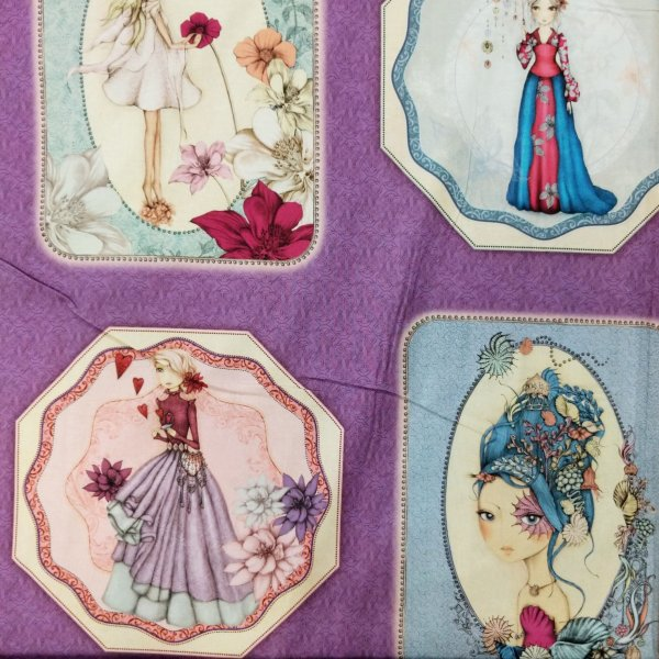 látka 100 bavlna plátno panel na quilting a patchwork quilting trasures santoro gorjuss fialová midnight garden 1649-26491-V