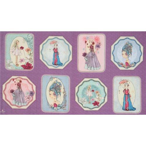 Americký bavlněný panel, od QT, kolekce Midnight Garden, 100% bavlna, šířka 110 cm, 1 ks = 60 cm