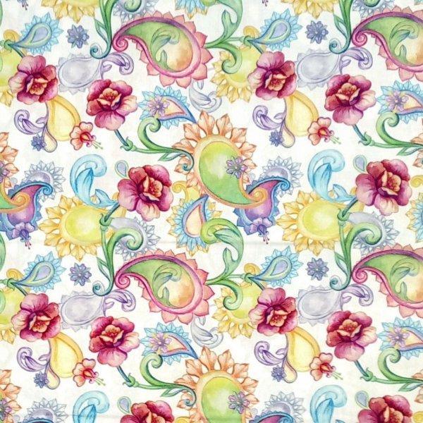 Dovozová bavlněná látka 100% bavlna barevné květiny na světlém podkladu