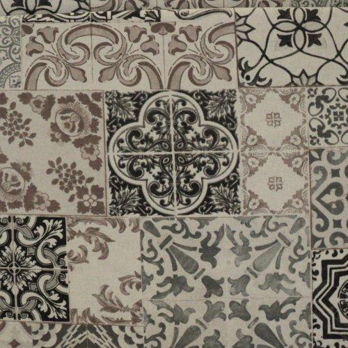 Dekorační látka dovozová ornamenty šedé čtverce vintage styl