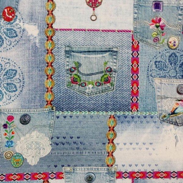 Dovozová dekorační látka riflová jeanová s kapsami na potahy a bytové dekorace