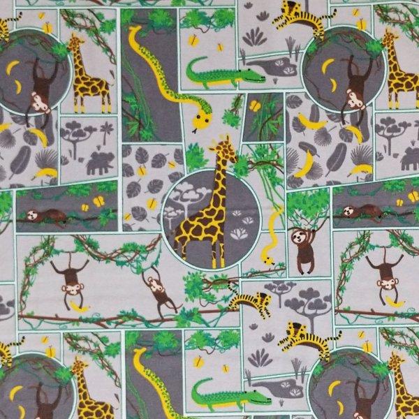 látka úplet tričkovina dětský vzor zvířátek džungle jungle žirafa lenochod opice banány hadi šedá