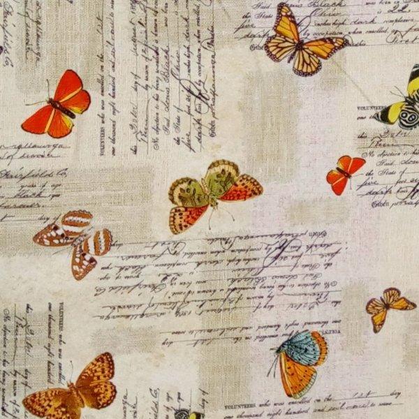 Dekorační látka dovozová 100 bavlna barevná motýli na béžové světlé