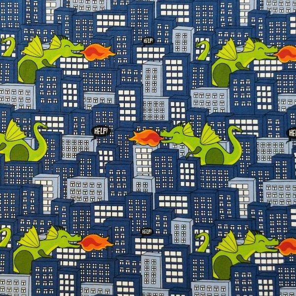 dětská látka úplet na klučičí trička legíny tepláky modrá zelená drak dráčci oheň město pomoc help