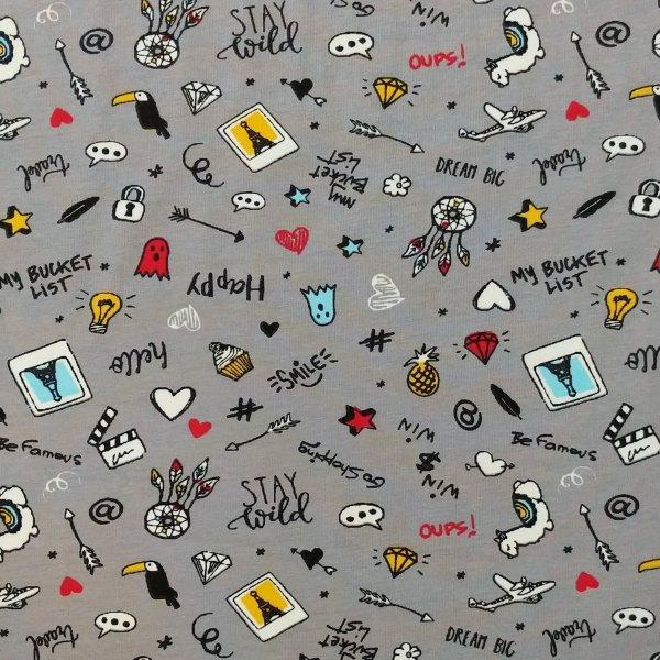 látka tričkovina příjemná pro děti šedá stay wild happy lama letadlo cestování pohlednice hvězda famous