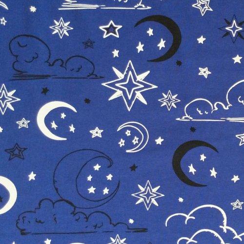 látka žerzej jersey úplet noční obloha mraky měsíc fosfor svítí ve tmě fosforescenční světélkuje