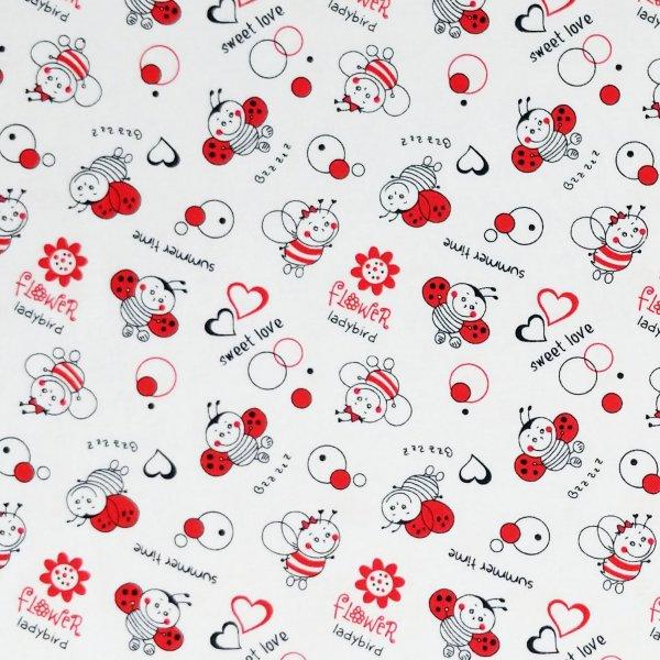 látka tričkovina pružná metráž ladybug ladybird sweet love berušky zamilované srdíčka červená černá bílá