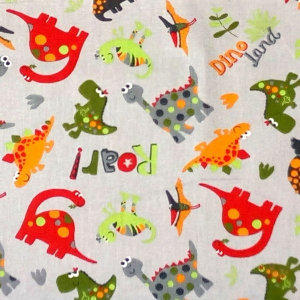 Bavlněná látka dovozové dětský vzor barevných dinosaurů na šedé na povlečení polštáře