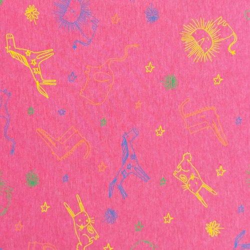 látka jersey úplet metráž na čepky trička legíny sytě růžová fuchsiová pro děti holky zvířátkové obrysy barevné kreslené