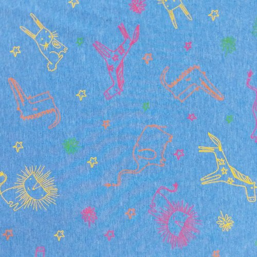 látka jersey úplet metráž na čepky trička legíny sytě modrá světle nebesky pro děti kluky zvířátkové obrysy barevné kreslené