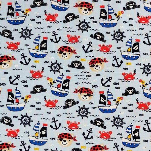 dětská látka jersey na oblečení šití pro kluky pružná metráž piráti klučičí vzor modrá lodě kotvy