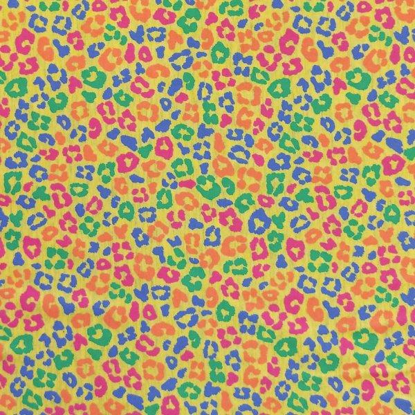 elastická látka polyester bavlna elastan úpletová metráž leopardí gepardí kůže fleky multi barevné veselé žluté