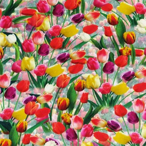 látka na letní dámské šaty pružná úplet barevná jarní vzor tulipánů rozkvetlých květin